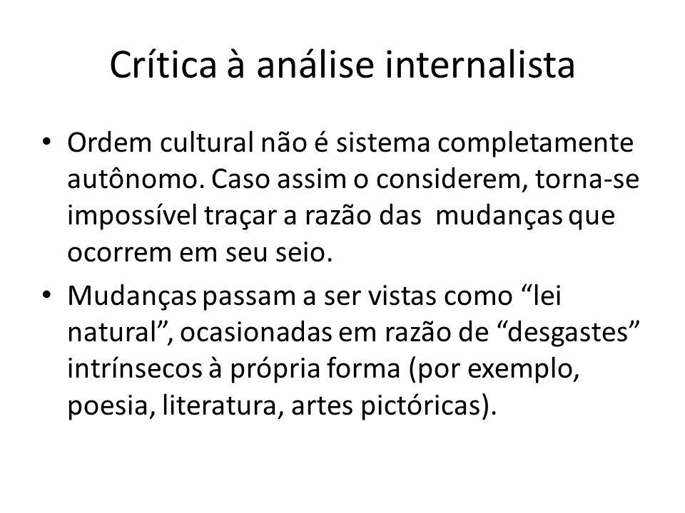 Crítica à análise internalista Ordem cultural não é sistema completamente autônomo. Caso assim o considerem, torna-se impossível traçar a razão das mu