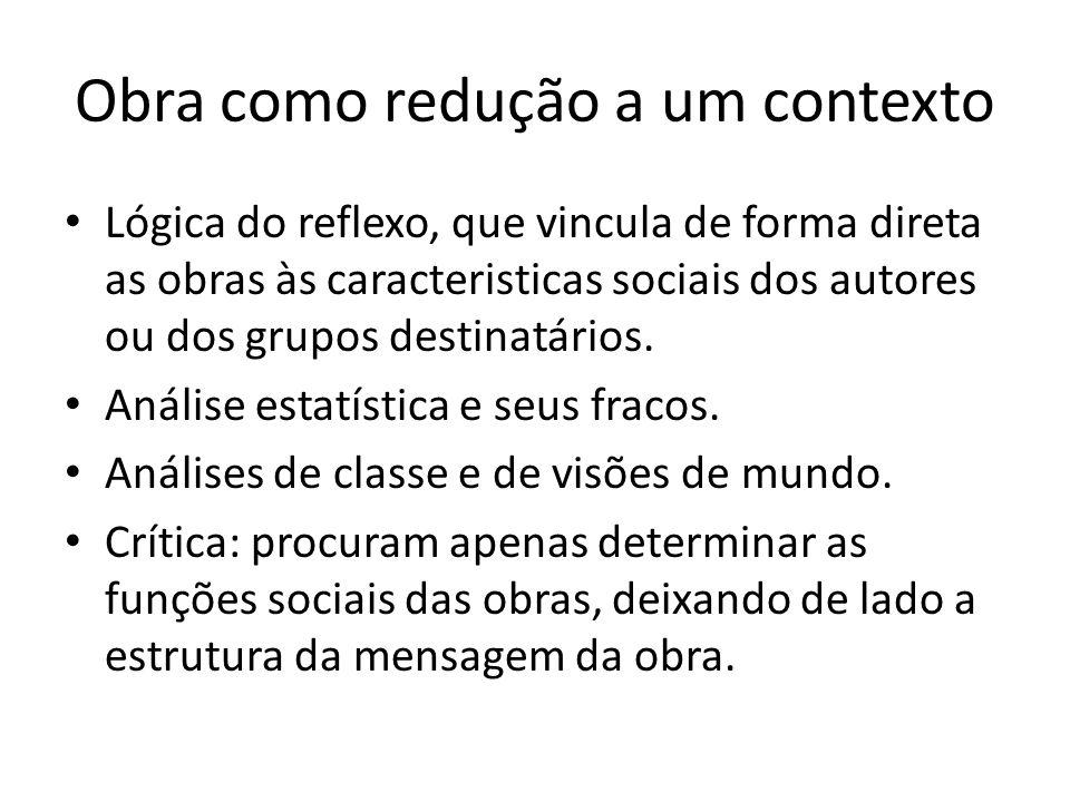 Obra como redução a um contexto Lógica do reflexo, que vincula de forma direta as obras às caracteristicas sociais dos autores ou dos grupos destinatá