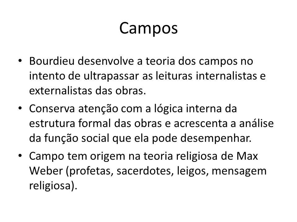 Campos Bourdieu desenvolve a teoria dos campos no intento de ultrapassar as leituras internalistas e externalistas das obras. Conserva atenção com a l