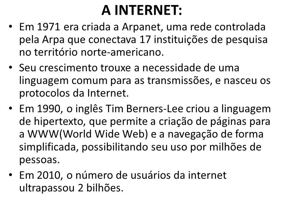 A INTERNET: Em 1971 era criada a Arpanet, uma rede controlada pela Arpa que conectava 17 instituições de pesquisa no território norte-americano. Seu c