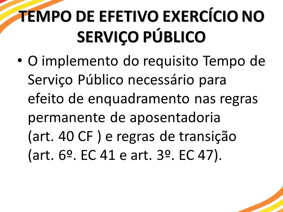 O implemento do requisito Tempo de Serviço Público necessário para efeito de enquadramento nas regras permanente de aposentadoria (art. 40 CF ) e regr