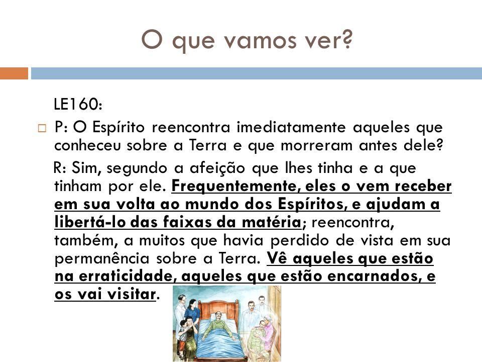 O que vamos ver? LE160: P: O Espírito reencontra imediatamente aqueles que conheceu sobre a Terra e que morreram antes dele? R: Sim, segundo a afeição
