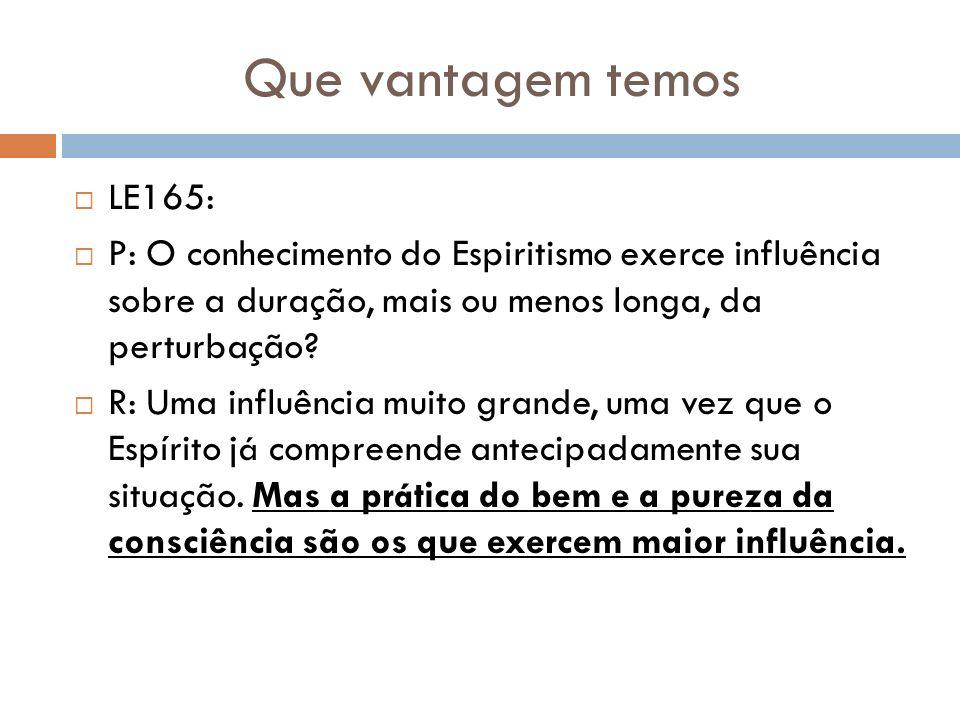 Que vantagem temos LE165: P: O conhecimento do Espiritismo exerce influência sobre a duração, mais ou menos longa, da perturbação? R: Uma influência m
