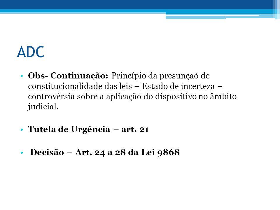 ADC Obs- Continuação: Princípio da presunçaõ de constitucionalidade das leis – Estado de incerteza – controvérsia sobre a aplicação do dispositivo no âmbito judicial.
