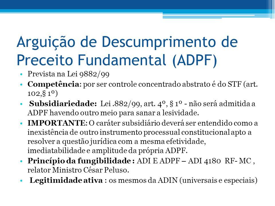 Arguição de Descumprimento de Preceito Fundamental (ADPF) Prevista na Lei 9882/99 Competência: por ser controle concentrado abstrato é do STF (art.