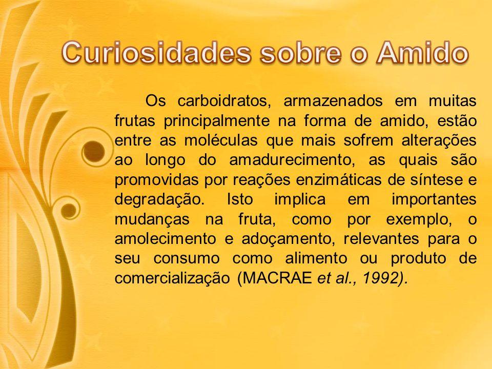 Os carboidratos, armazenados em muitas frutas principalmente na forma de amido, estão entre as moléculas que mais sofrem alterações ao longo do amadurecimento, as quais são promovidas por reações enzimáticas de síntese e degradação.