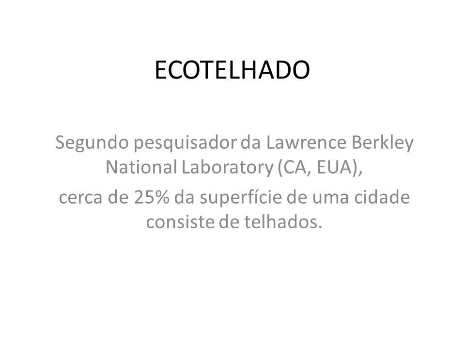 ECOTELHADO Segundo pesquisador da Lawrence Berkley National Laboratory (CA, EUA), cerca de 25% da superfície de uma cidade consiste de telhados.