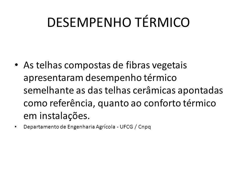 DESEMPENHO TÉRMICO As telhas compostas de fibras vegetais apresentaram desempenho térmico semelhante as das telhas cerâmicas apontadas como referência, quanto ao conforto térmico em instalações.