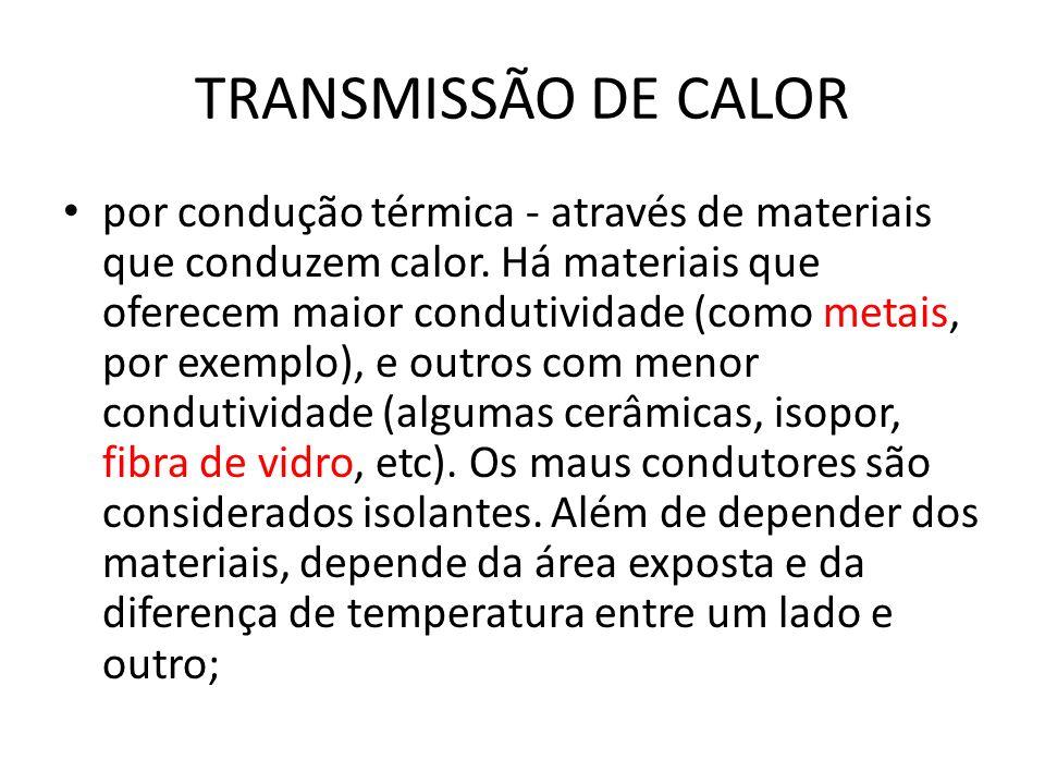 TRANSMISSÃO DE CALOR por condução térmica - através de materiais que conduzem calor. Há materiais que oferecem maior condutividade (como metais, por e