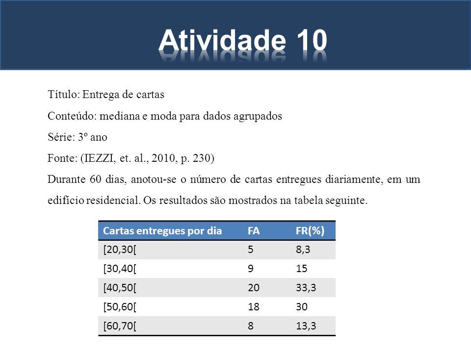 Título: Entrega de cartas Conteúdo: mediana e moda para dados agrupados Série: 3º ano Fonte: (IEZZI, et. al., 2010, p. 230) Durante 60 dias, anotou-se