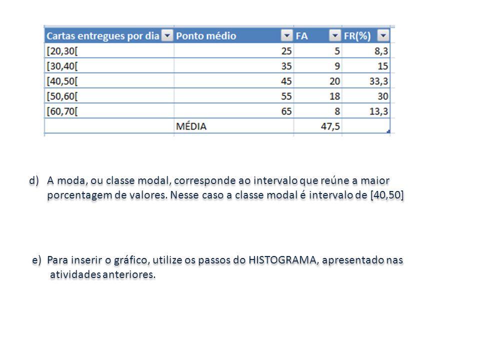 d) A moda, ou classe modal, corresponde ao intervalo que reúne a maior porcentagem de valores. Nesse caso a classe modal é intervalo de [40,50] e) Par