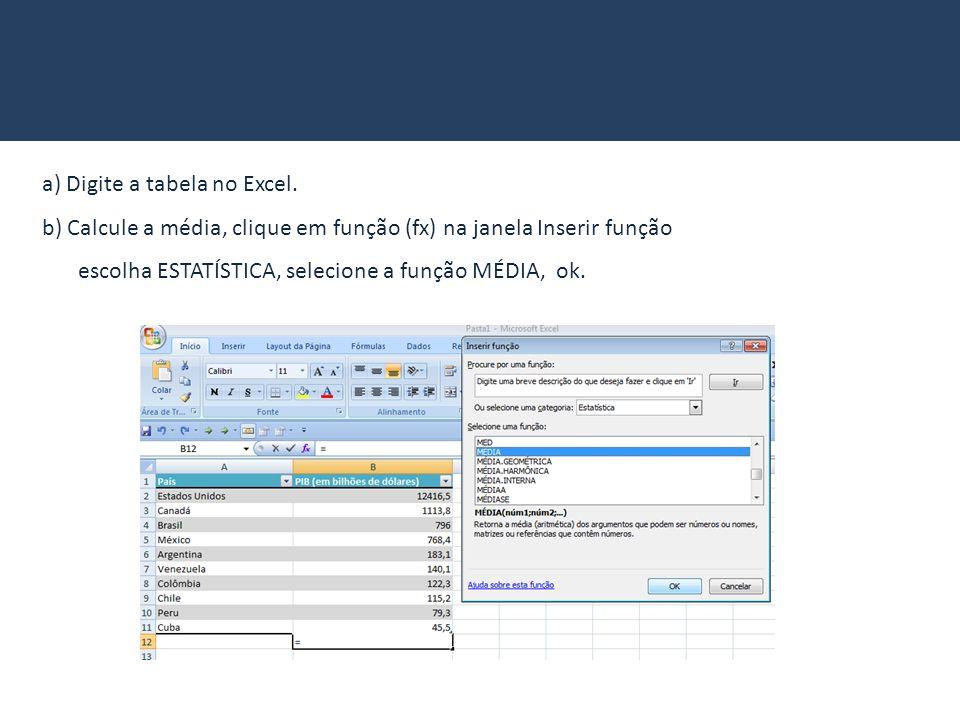 a) Digite a tabela no Excel. b) Calcule a média, clique em função (fx) na janela Inserir função escolha ESTATÍSTICA, selecione a função MÉDIA, ok.