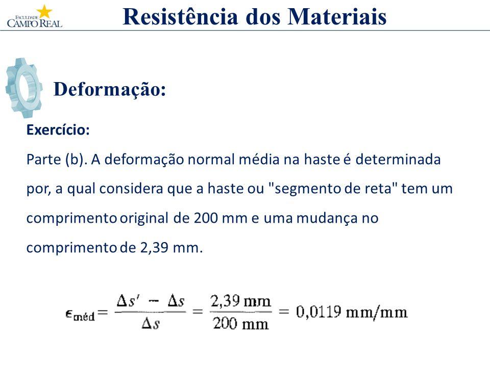 Deformação: Exercício: Parte (b). A deformação normal média na haste é determinada por, a qual considera que a haste ou
