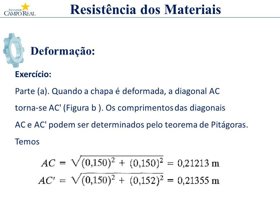 Deformação: Exercício: Parte (a). Quando a chapa é deformada, a diagonal AC torna-se AC' (Figura b ). Os comprimentos das diagonais AC e AC' podem ser