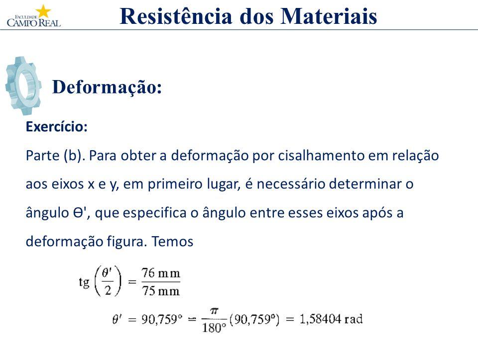 Deformação: Exercício: Parte (b). Para obter a deformação por cisalhamento em relação aos eixos x e y, em primeiro lugar, é necessário determinar o ân