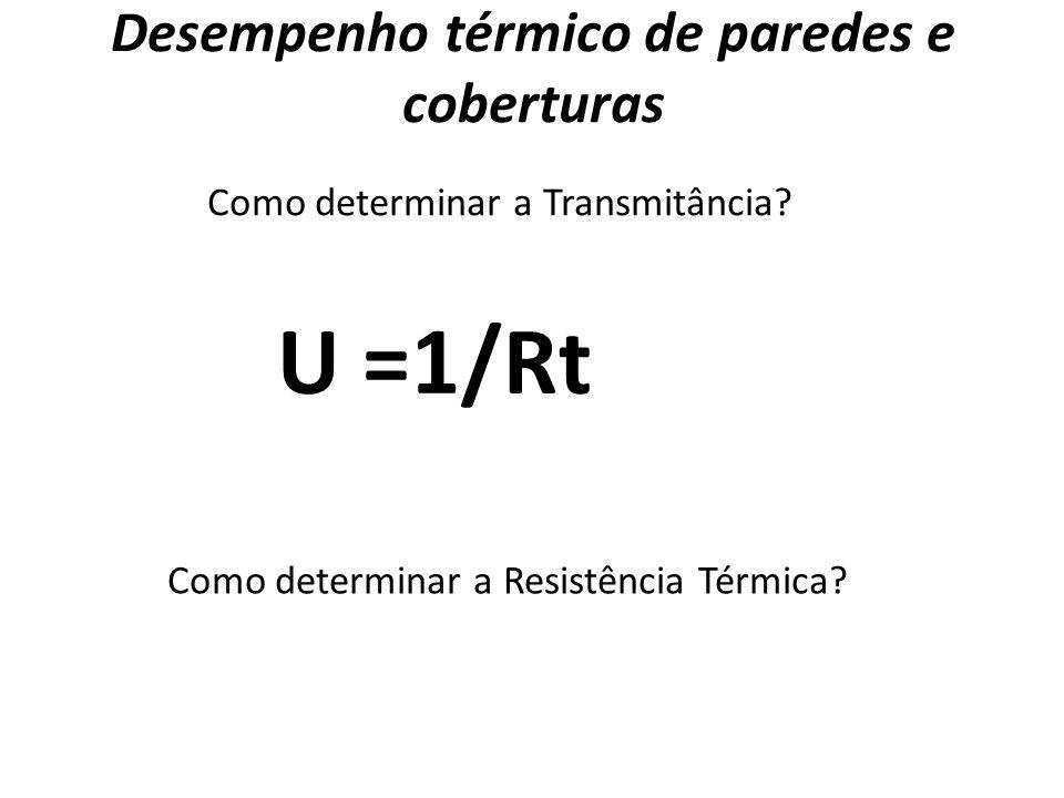 Desempenho térmico de paredes e coberturas Como determinar a Transmitância? U =1/Rt Como determinar a Resistência Térmica?