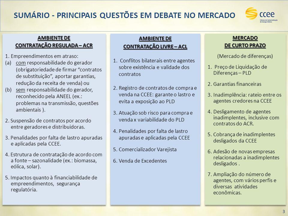 SUMÁRIO - PRINCIPAIS QUESTÕES EM DEBATE NO MERCADO 3 MERCADO DE CURTO PRAZO (Mercado de diferenças) 1. Preço de Liquidação de Diferenças – PLD 2.Garan