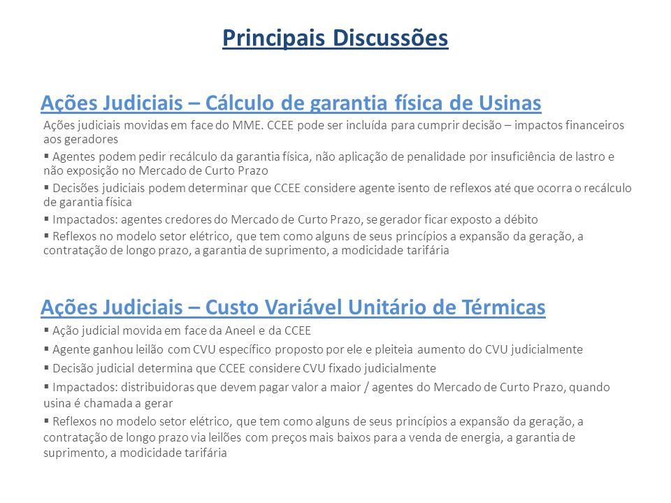 Ações Judiciais – Cálculo de garantia física de Usinas Ações judiciais movidas em face do MME. CCEE pode ser incluída para cumprir decisão – impactos