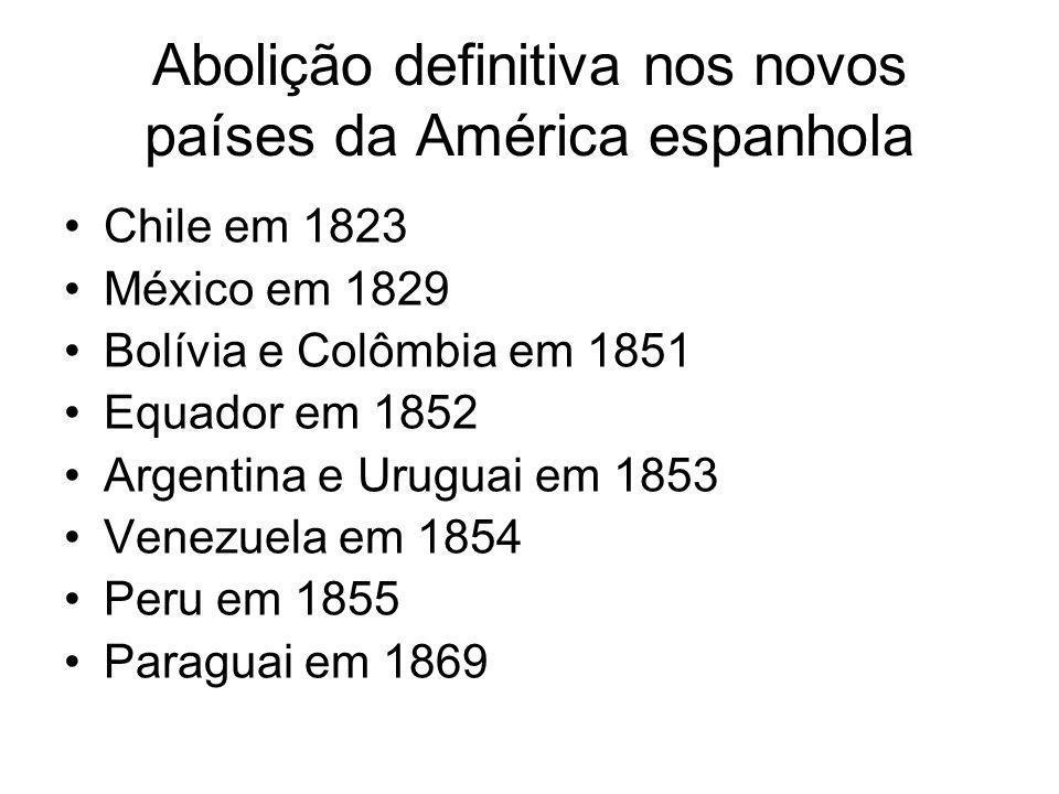 Abolição definitiva nos novos países da América espanhola Chile em 1823 México em 1829 Bolívia e Colômbia em 1851 Equador em 1852 Argentina e Uruguai