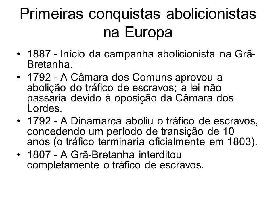 Primeiras conquistas abolicionistas na Europa 1887 - Início da campanha abolicionista na Grã- Bretanha. 1792 - A Câmara dos Comuns aprovou a abolição