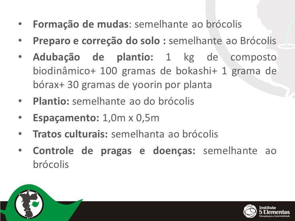 Formação de mudas: semelhante ao brócolis Preparo e correção do solo : semelhante ao Brócolis Adubação de plantio: 1 kg de composto biodinâmico+ 100 g