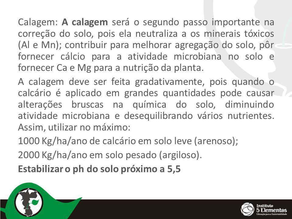 Calagem: A calagem será o segundo passo importante na correção do solo, pois ela neutraliza a os minerais tóxicos (Al e Mn); contribuir para melhorar