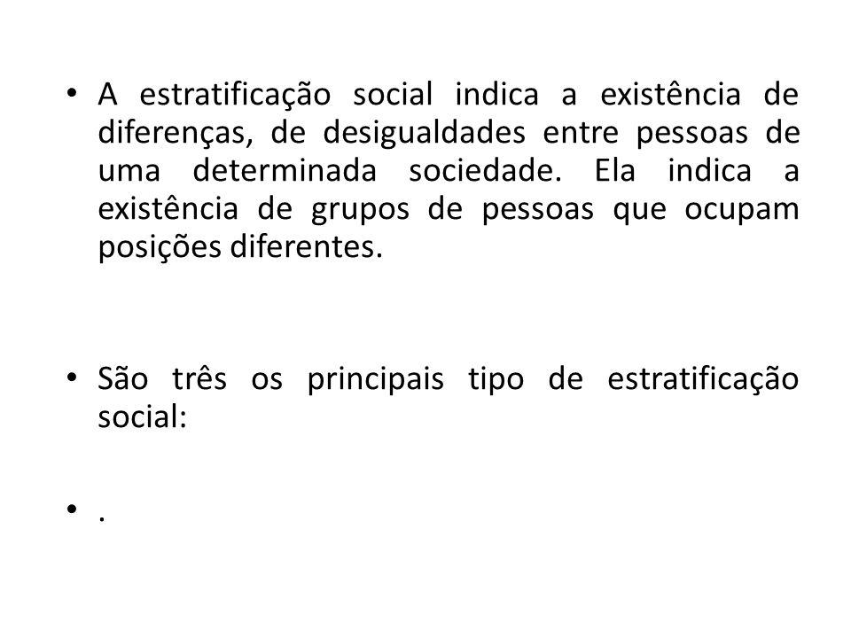 A estratificação social indica a existência de diferenças, de desigualdades entre pessoas de uma determinada sociedade. Ela indica a existência de gru