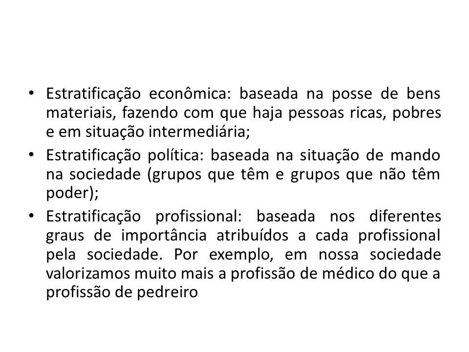 Estratificação econômica: baseada na posse de bens materiais, fazendo com que haja pessoas ricas, pobres e em situação intermediária; Estratificação p