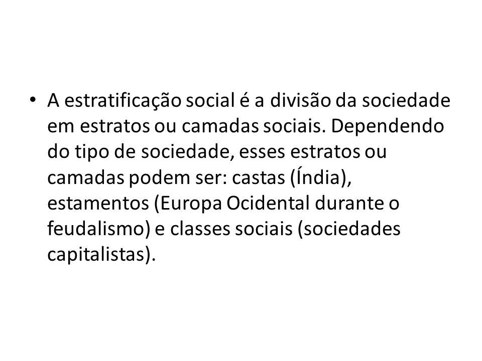 A estratificação social é a divisão da sociedade em estratos ou camadas sociais. Dependendo do tipo de sociedade, esses estratos ou camadas podem ser: