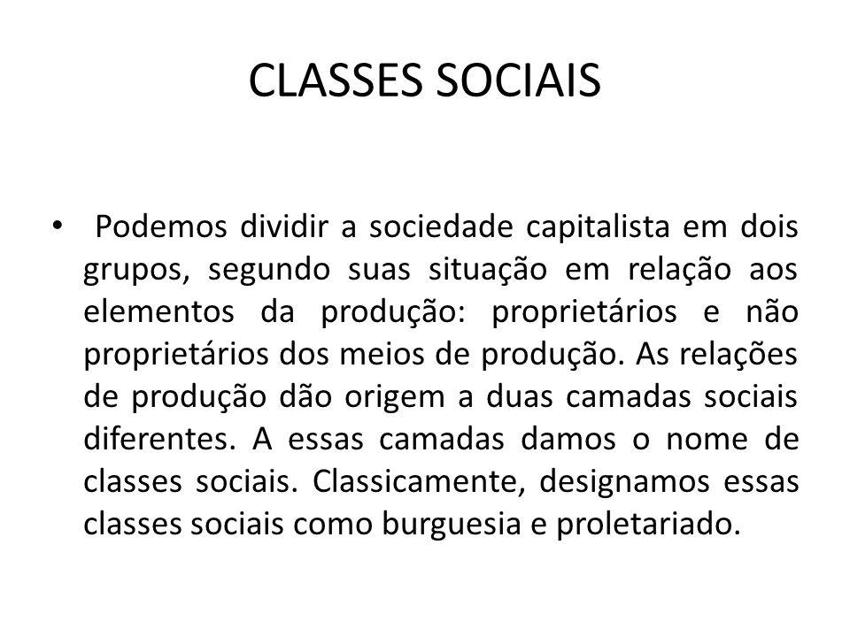 CLASSES SOCIAIS Podemos dividir a sociedade capitalista em dois grupos, segundo suas situação em relação aos elementos da produção: proprietários e não proprietários dos meios de produção.