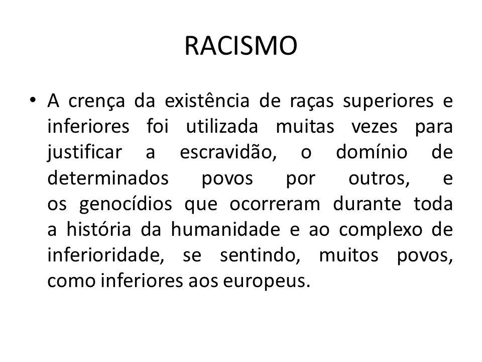 RACISMO A crença da existência de raças superiores e inferiores foi utilizada muitas vezes para justificar a escravidão, o domínio de determinados pov