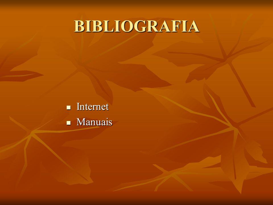 BIBLIOGRAFIA Internet Internet Manuais Manuais
