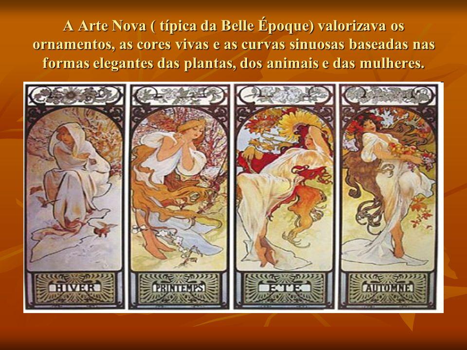 A Arte Nova ( típica da Belle Époque) valorizava os ornamentos, as cores vivas e as curvas sinuosas baseadas nas formas elegantes das plantas, dos animais e das mulheres.