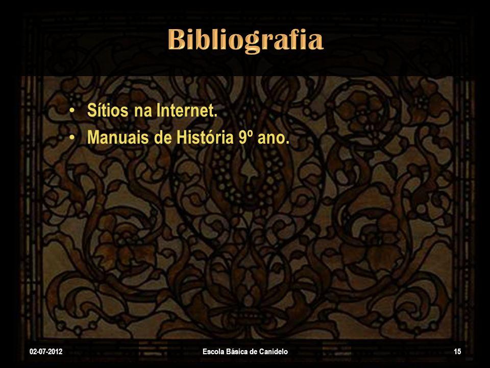 Sítios na Internet. Manuais de História 9º ano. 02-07-2012Escola Básica de Canidelo15