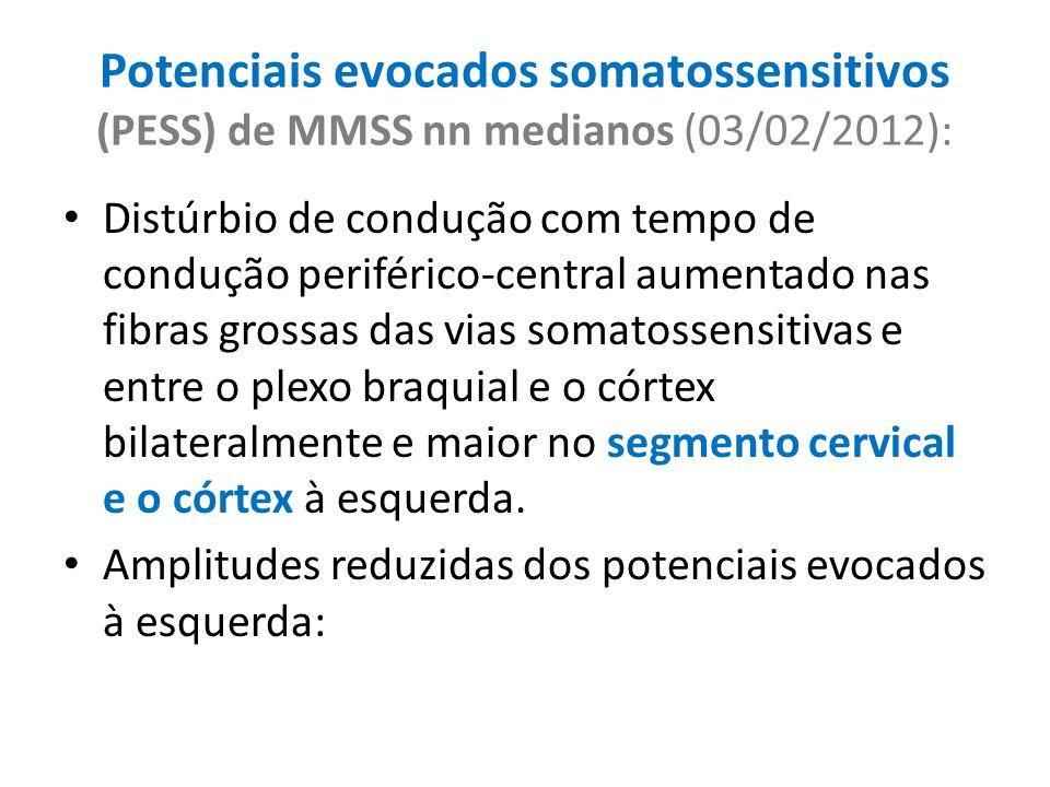 Potenciais evocados somatossensitivos (PESS) de MMSS nn medianos (03/02/2012): Distúrbio de condução com tempo de condução periférico-central aumentad