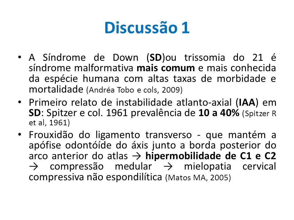 Discussão 1 A Síndrome de Down (SD)ou trissomia do 21 é síndrome malformativa mais comum e mais conhecida da espécie humana com altas taxas de morbida