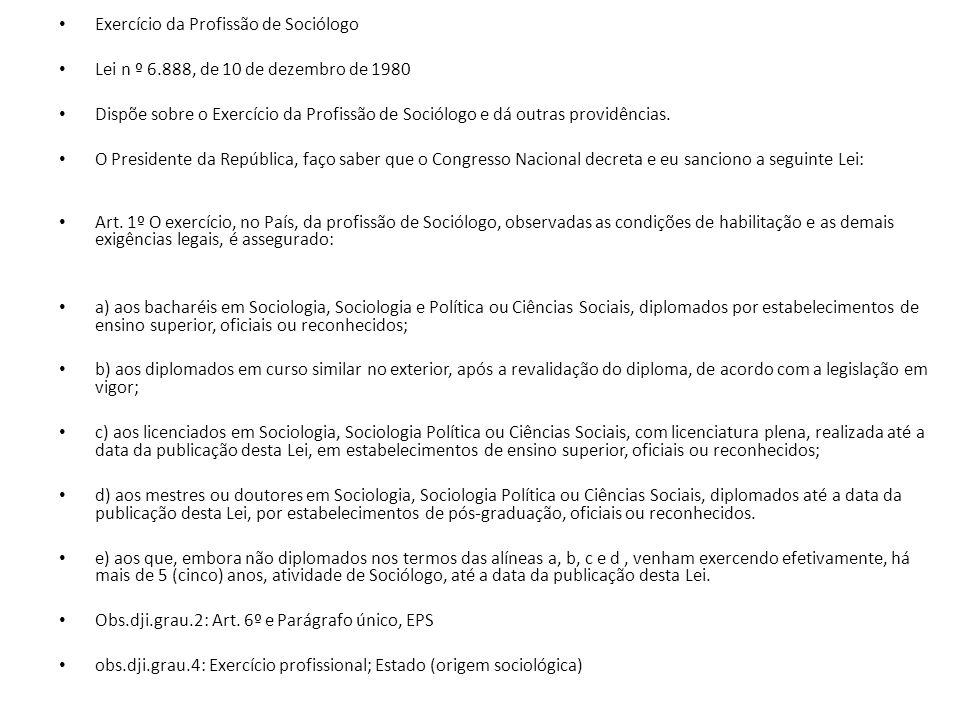 Exercício da Profissão de Sociólogo Lei n º 6.888, de 10 de dezembro de 1980 Dispõe sobre o Exercício da Profissão de Sociólogo e dá outras providências.