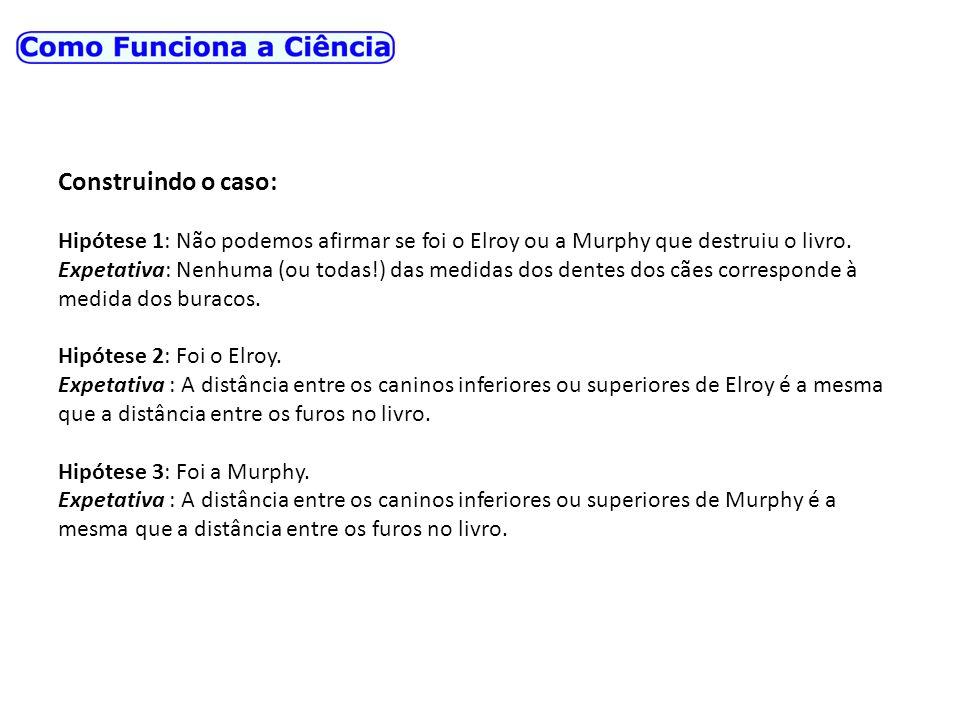 Construindo o caso: Hipótese 1: Não podemos afirmar se foi o Elroy ou a Murphy que destruiu o livro. Expetativa: Nenhuma (ou todas!) das medidas dos d