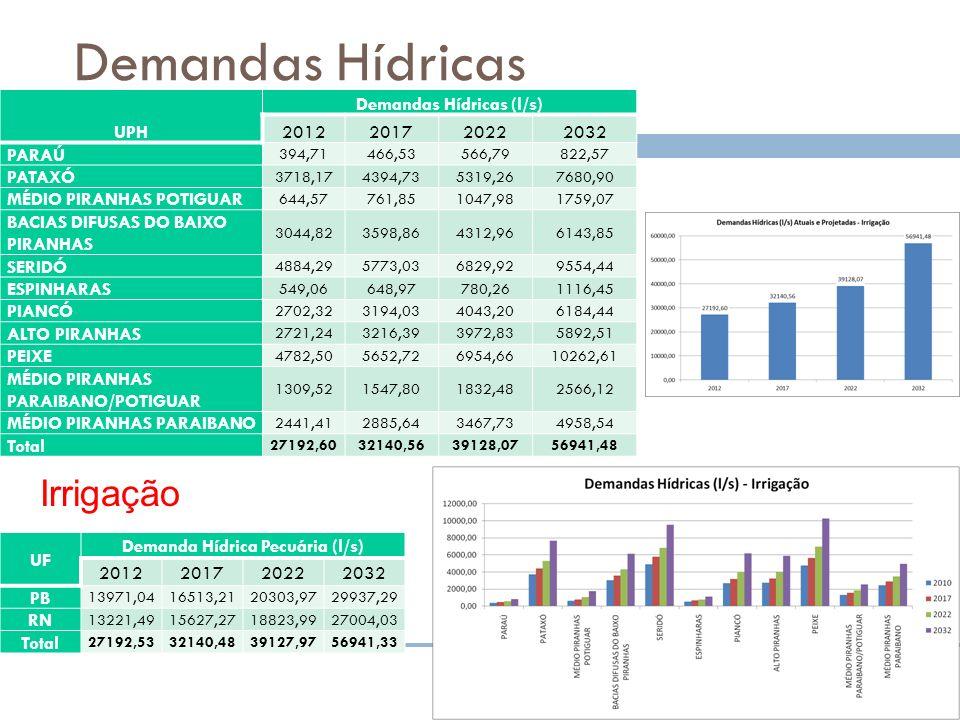 Demandas Hídricas UPH Demandas Hídricas (l/s) 2012201720222032 PARAÚ 394,71466,53566,79822,57 PATAXÓ 3718,174394,735319,267680,90 MÉDIO PIRANHAS POTIG