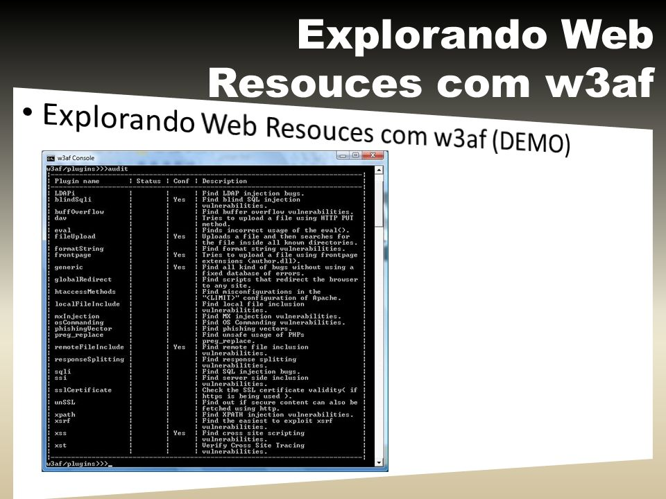 Explorando Web Resouces com w3af