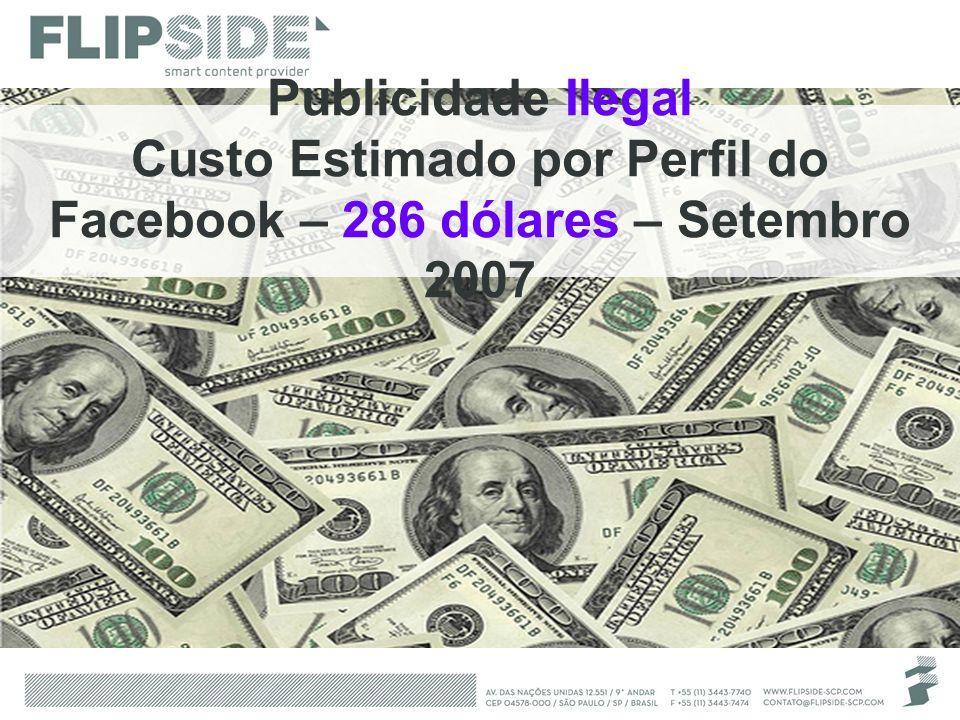Publicidade Ilegal Custo Estimado por Perfil do Facebook – 286 dólares – Setembro 2007