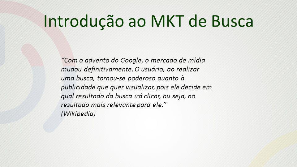 Introdução ao MKT de Busca Com o advento do Google, o mercado de mídia mudou definitivamente. O usuário, ao realizar uma busca, tornou-se poderoso qua
