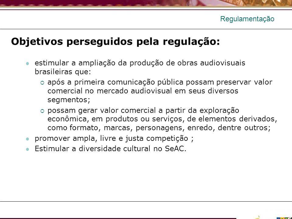 Regulamentação Objetivos perseguidos pela regulação: estimular a ampliação da produção de obras audiovisuais brasileiras que: após a primeira comunica