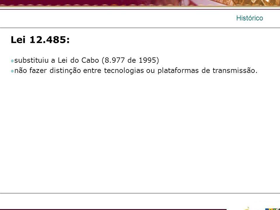 Histórico Lei 12.485: substituiu a Lei do Cabo (8.977 de 1995) não fazer distinção entre tecnologias ou plataformas de transmissão.