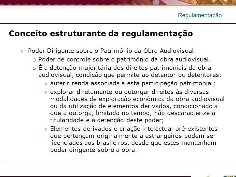 Regulamentação Conceito estruturante da regulamentação Poder Dirigente sobre o Patrimônio da Obra Audiovisual: Poder de controle sobre o patrimônio da