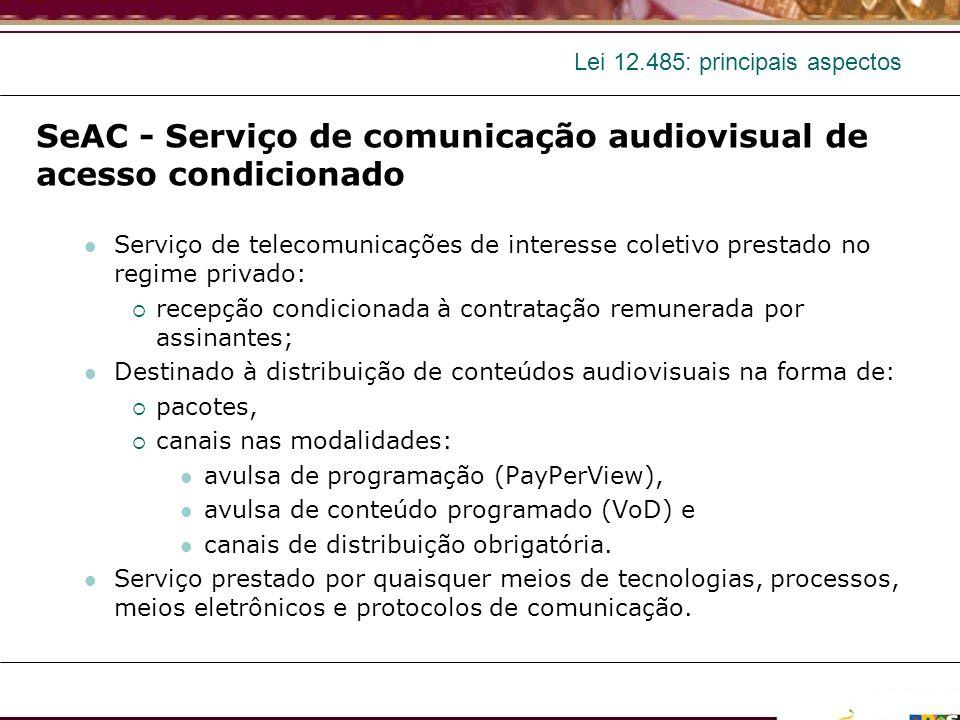 Lei 12.485: principais aspectos SeAC - Serviço de comunicação audiovisual de acesso condicionado Serviço de telecomunicações de interesse coletivo pre