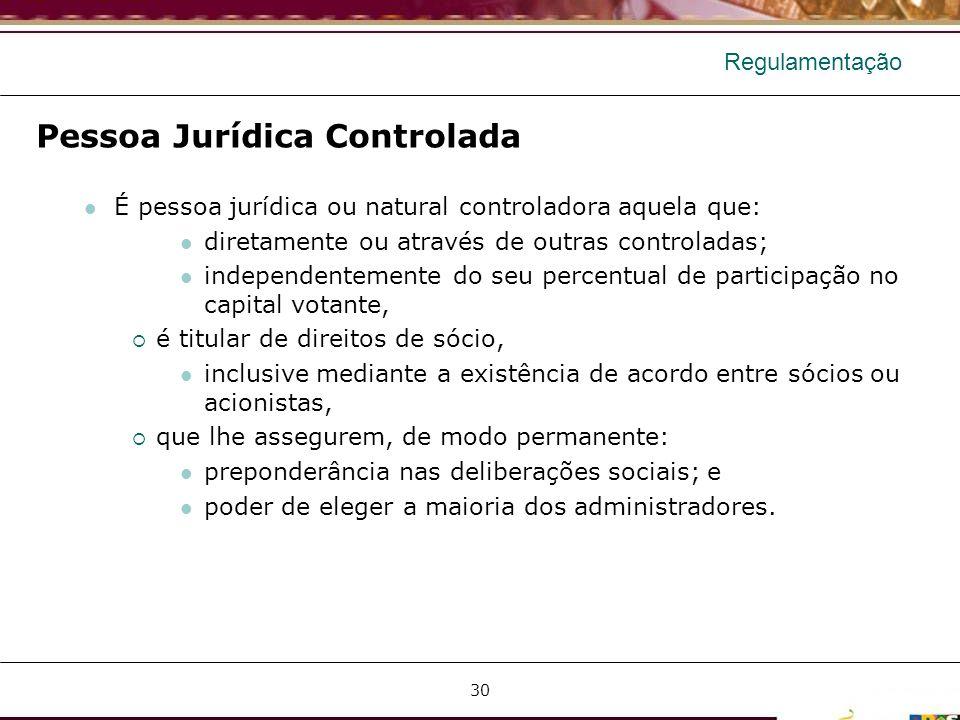 Regulamentação Pessoa Jurídica Controlada É pessoa jurídica ou natural controladora aquela que: diretamente ou através de outras controladas; independ