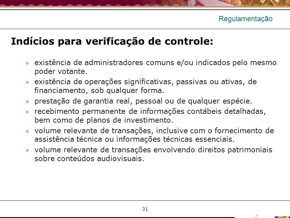 Regulamentação Indícios para verificação de controle: existência de administradores comuns e/ou indicados pelo mesmo poder votante. existência de oper