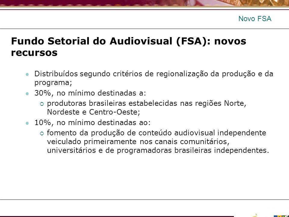 Fundo Setorial do Audiovisual (FSA): novos recursos Distribuídos segundo critérios de regionalização da produção e da programa; 30%, no mínimo destina