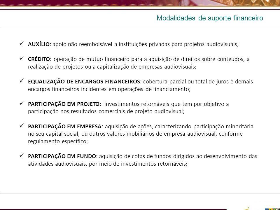 AUXÍLIO: apoio não reembolsável a instituições privadas para projetos audiovisuais; CRÉDITO: operação de mútuo financeiro para a aquisição de direitos